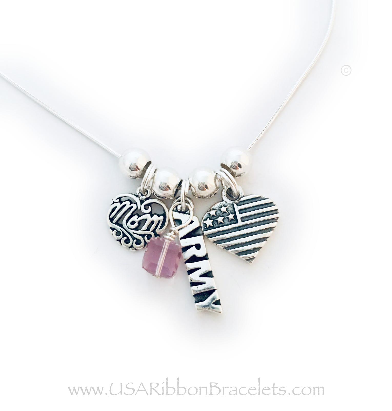 "USA-N8-Army Army Mom necklace comes with a Army charm, a MOM charm and a USA Heart Flag charm. Shown on a 18"" - .925 sterling silver snake chain. The Crystal Dangle is an add-on. (October Birthstone is shown)"